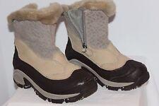 COLUMBIA Womens Winter Boots Waterproof Leather Faux Fur Bugszip Tan Size 5M