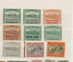 A very nice unused Dominica group with some overprints