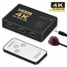 4K Ultra HD 3D 3 Port HDMI Splitter Switch Hub HDTV Video with Remote Control CA