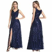 Ever-Pretty Navy Split Long Formal Evening Cocktail Dresses Sequins Prom Gowns