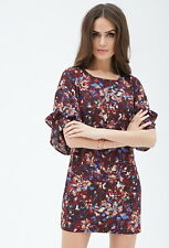 Forever21 Watercolor Print Layered Dress, XS
