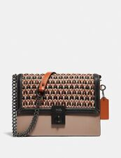 🔥Coach Hutton Shoulder Bag With Weaving #615 Pewter/Taupe Multi