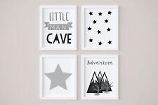 Set of 4 Little Man Cave Boys Room Kids Nursery Wall Art Prints Grey & White 7x5