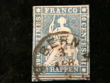 Schweiz Helvetia ab 1854 - Sitzende Helvetia (sog. Strubel) 10 Rappen     Nr.5