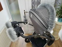 Baby Pram Hand Mittens Stokke Winter Kit With Fur Warmer Muff Stroller Gloves
