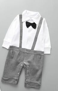Top quality baby boy bow Grey romper outfit birthday gift formal soft 3-24 mths