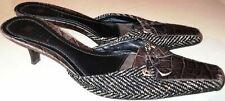 Vtg 90's Carole Little Brown Leather Embossed Crocodile Design Tweed Pumps sz 9