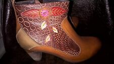 New Spring Step PARFUM L'Artiste Collection Camel Multi Leather Boots