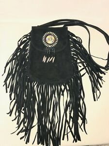 Boho Hippie Small Black Suede Fringe Beaded Flap Crossbody Bag EUC!