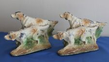 Set of Cast Metal Spelter Painted Figural Bookends English Setter Hunting Dogs