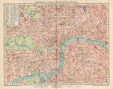B6273 London town plan - Carta geografica antica del 1902 - Old map