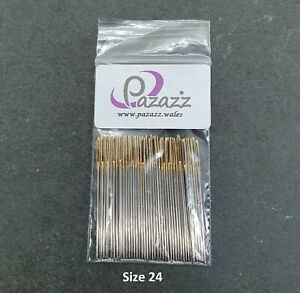 Cross Stitch Needles Embroidery Tapestry Gold Tail Sizes 24 pack of 100