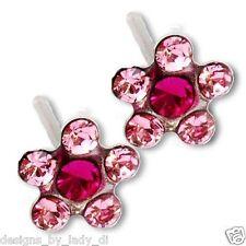 Ear Piercing Earrings Light Pink Daisy Flower Silver Studs Studex System 75