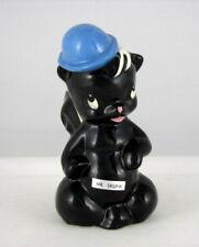 "deLee Art Mr. Skunk w Blue Hat  Flower Holder, 6"" tall"