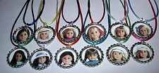 20 AMERICAN GIRL DOLL THEME PARTY SUPPLY BOTTLE CAP FAVORS NECKLACE COLOR CORD