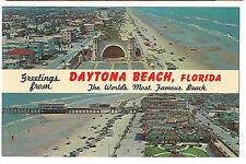 DAYTONA BEACH Florida POSTCARD 2 Picture Views NAME BAND Greetings BANNER FL