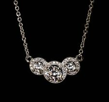 """Sterling Silver Triple Linked Circles in Cubic Zirconia on 18"""" Silver Necklace"""