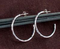 925 Sterling Silver Hammered Hoop Stud Earrings 2x30 mm.
