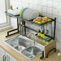 Over The Sink Dish Drying Shelf Stainless Steel Cutlery Holder Drainer Rack USA