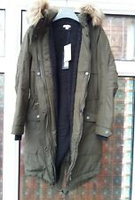 BNWT Whistles Cassie Hooded Casual Parka Coat Khaki Green XS S rrp£190