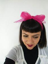 Foulard cheveux fin tulle mousseline transparente rose fuchsia coiffure pinup
