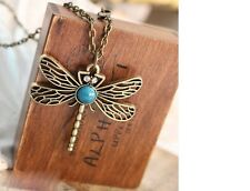 Women's Antique Look Vintage Turquoise Dragonfly Pendant Necklace Gift UK