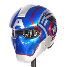 CAPTAIN AMERICA OPEN FACE MOTORCYCLE HELMET GLOSSY BLUE  LAMP