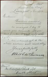 Liverpool Antico Lettera Riguardo Condividi Certificati Da Albert Harrison 1896