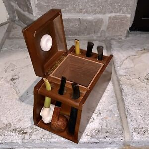 Vintage Fairfax Tobacco Humidor Wood Stand  + 6 Pipes Medico Bruce Peters Briar