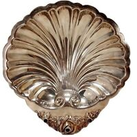 """Vintage 10.5"""" Wallace Silver Plate Seashell Tray 9066 Mid Century Shell Platter"""