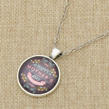 Mom Mother's Day Necklaces Pendant Round Glass Cabochon Long Chain Necklace