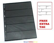 10 Sheets Stamp Stock Pages (5 Strips) w 9 Binder Holes - Black & Double Sided