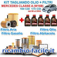 KIT TAGLIANDO MERCEDES CLASSE A W168 160 170 CDI + 5 LT OLIO MOTUL 8100 5W40