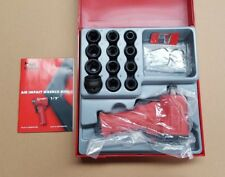 "Teng Tools Air Impact Wrench Kit 1/2"" Dr Stubby Gun & Socket Set. Wheel Bolt Nut"