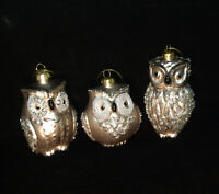 3 ps. Lot Snow Owls Glass Christmas Ornaments with glitter and beads vtg Germany