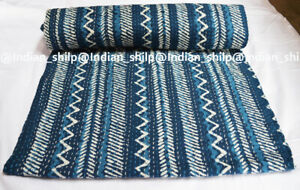 Ethnic Indian Handmade Cotton Queen Kantha Quilt Bedding Bedspread Throw Blanket