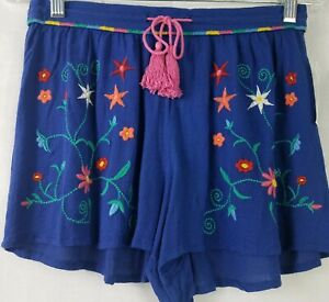 Banjara Womens Shorts Blue Floral Gauze Embroidery Front Tie Beach Shorts Size M