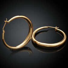 Luxury Women Yellow Gold Plated Dangle Drop Hoop Earrings Wedding Jewelry