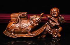 China Boxwood Wood Carved TongZi Boy Hold RuYi Fan Dragon Turtle Tortoise Statue