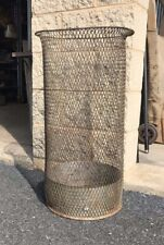 Vintage Antique Wire Mesh Trash Can Receptacle