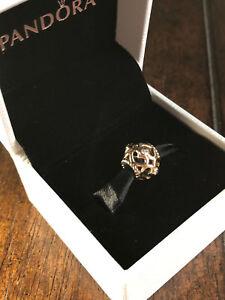 "New! Pandora ""Open Heart"" Diamonds 14k Yellow Gold Charm - Retired 750466D"