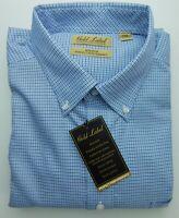 NWT Gold Label Roundtree Yorke Blue Brown Check Men Shirt Big Tall LT, XLT, 2XB