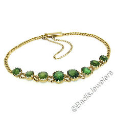Antique Victorian 14K Yellow Gold 5.84ctw Oval Green Tourmaline Link Bracelet