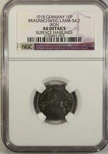 Germany 10 Pfennig 1918 NGC UNC  Details Iron  Braunschweig  Lamb- 54.2