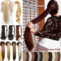 Curly Wavy Long Straight Ponytails Hair Extension Wrap Around Ponytail Hairpiece