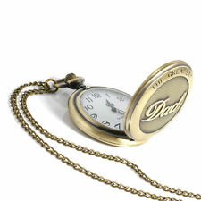Vintage Bronze THE GREATEST Pocket Watch Necklace FOB Chain For Grandpa DAD