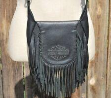 Harley Davidson Fringe Black Leather Waist Cross Body Embroidered Purse Hand Bag