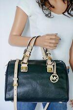 Michael Kors Med Black Pebbled Leather Satchel Grayson Tote Shoulder Bag Purse