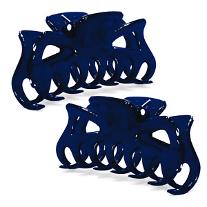 """2X Hair Claw Clips 3.25"""" Navy Blue Butterfly Jaw Clamps Fashion Bow _144-27"""