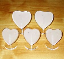 NEW Set of 5, Acrylic Heart Shaped, Necklace, Earrings, Jewellery Display Stands